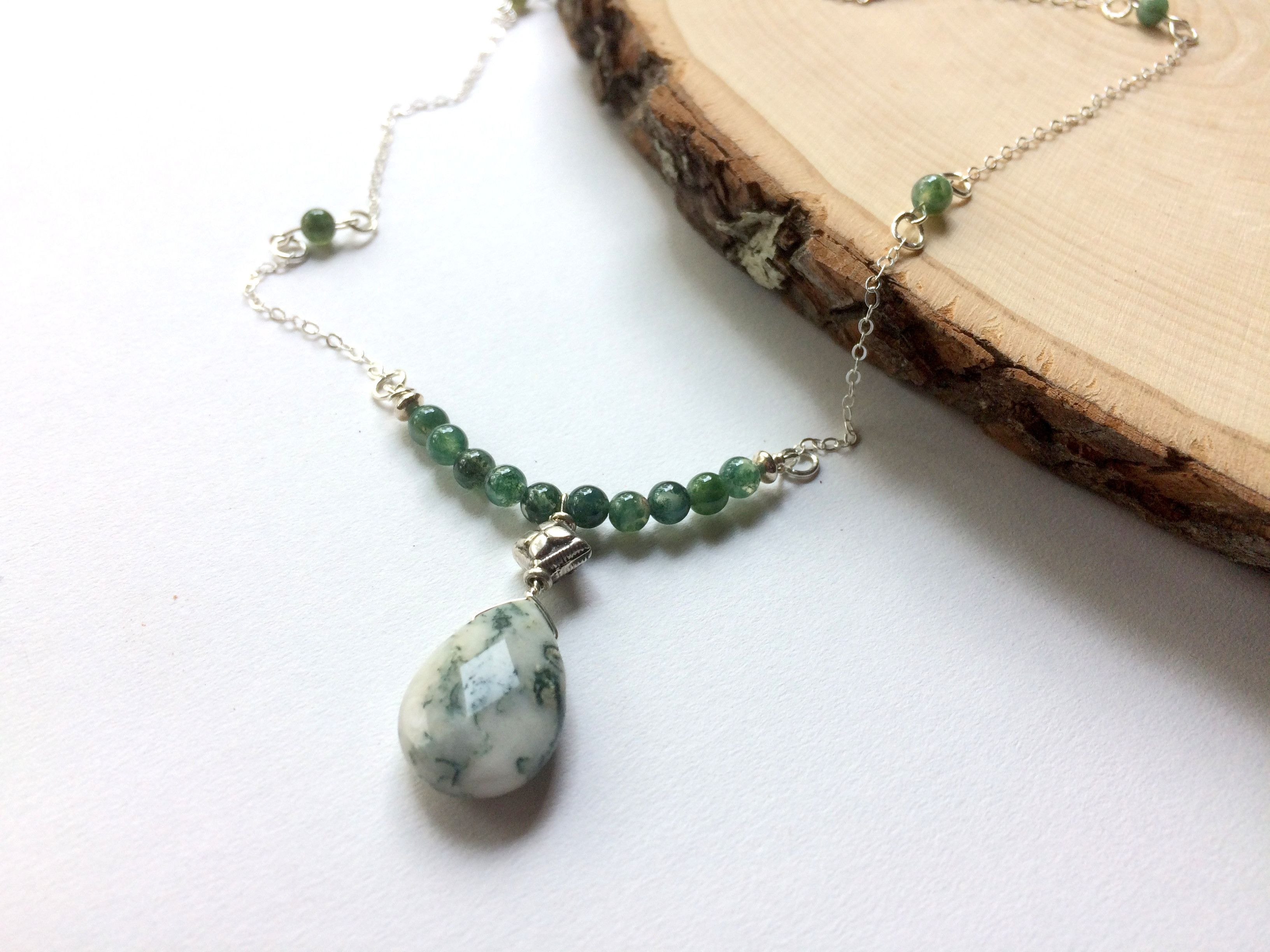 green semi strand moss precious multi necklace lariat pin agate
