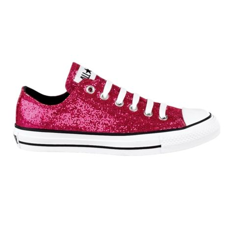 Converse All Star Lo Glitter Athletic Shoe Pink Glitter