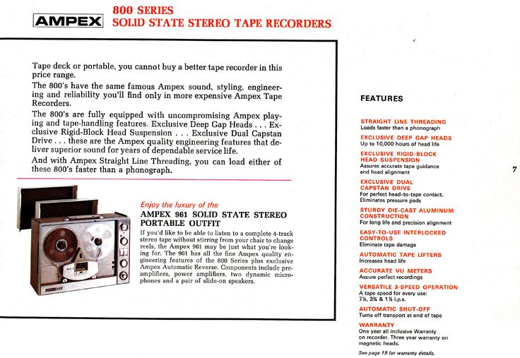 1967 Ampex Brochure Describing The Ampex 800 Series Tape Recorder