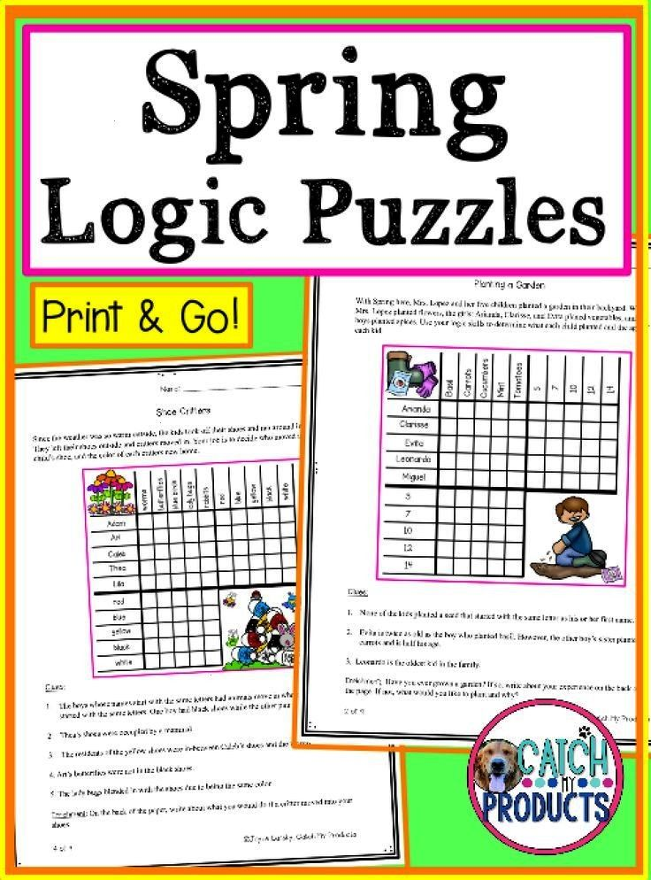 Logic Puzzles Teachers, Spring is coming so find fun logic puzzles amp activities in printables for k