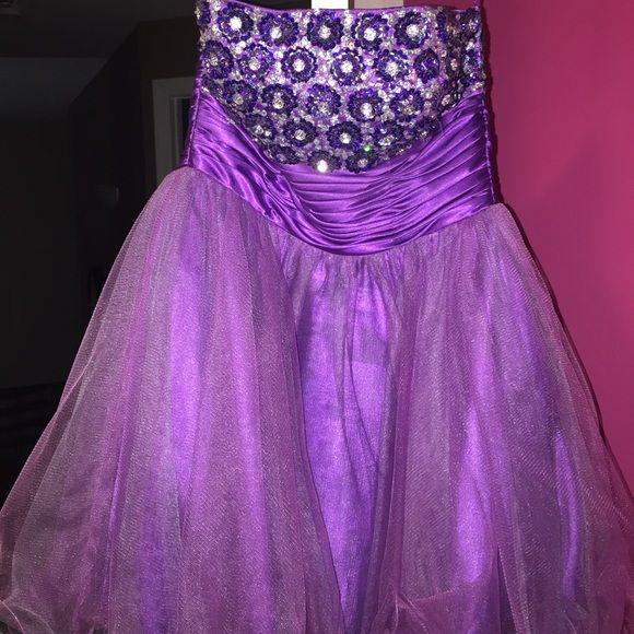 Purple short dress Worn one time. Laces up in the back Dresses Strapless