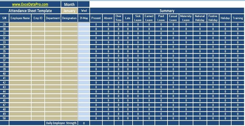 Download Employee Attendance Sheet Excel Template Exceldatapro Attendance Sheet Attendance Sheet Template Attendance