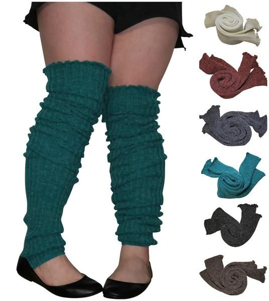 b0f99975b43 Extra Long Leg Warmers Mens Ladies Wide Calf Plus Size Tall Girl Calf Boot  Sock Black Purple More