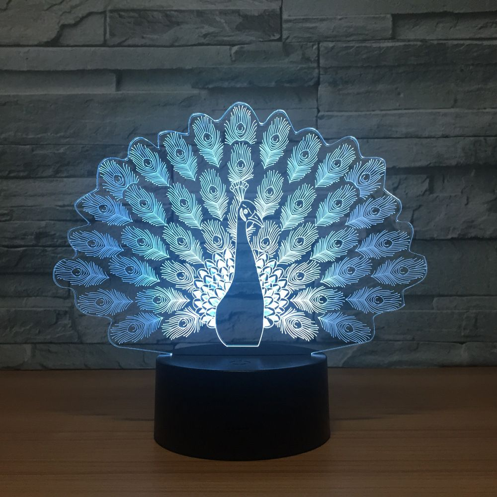Peacock 3d Illusion Lamp 3d Illusion Lamp 3d Optical Illusions Lamp