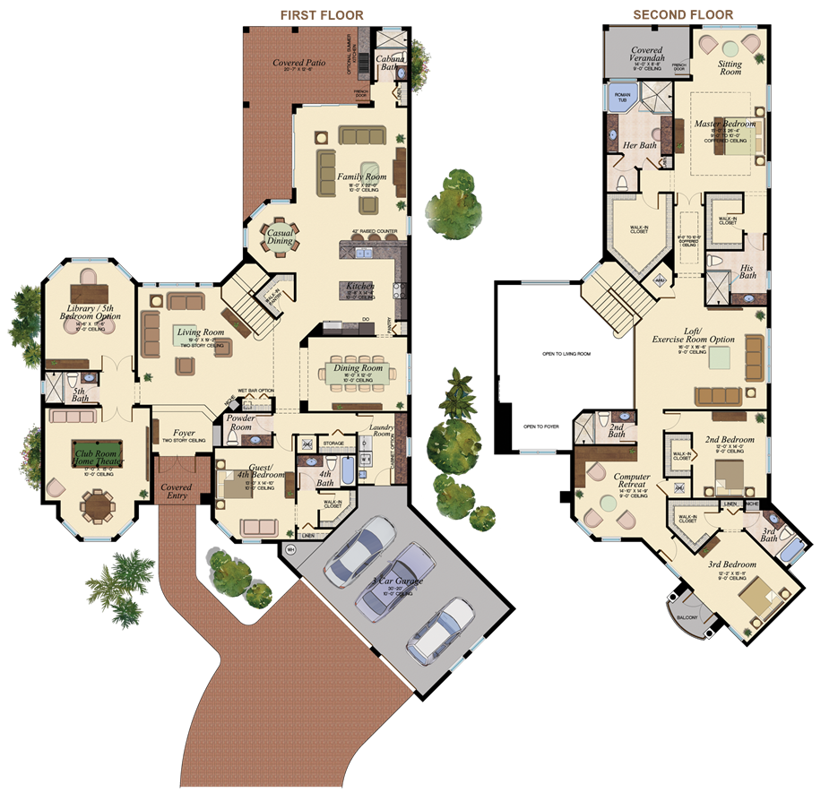Spacious the hawthorne floorplan at bay hill estates west for Beach house plans with loft