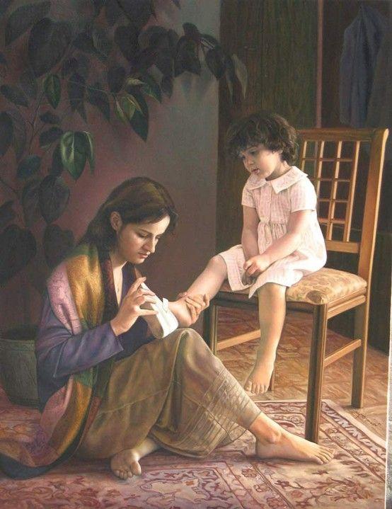 حنان الوالده غالي وقليله كلمة الغالي ولا الدنيا تعوضها اذا تركت محل خالي وجود الام في ك Mother And Child Painting Mother And Baby Paintings Mother Daughter Art