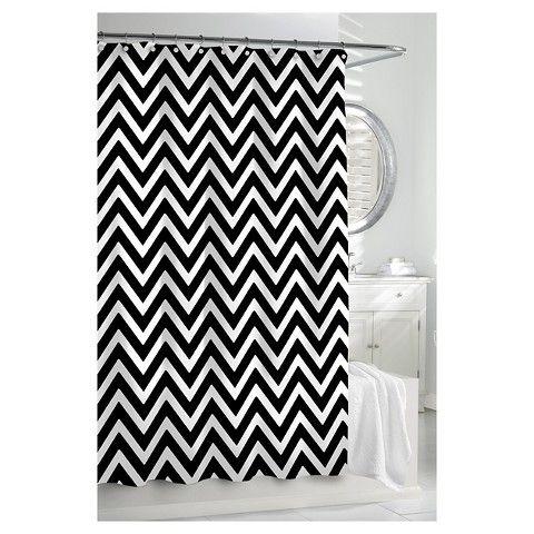 black white chevron shower curtain. Kassatex Chevron Shower Curtain  Black White Swantz bathroom