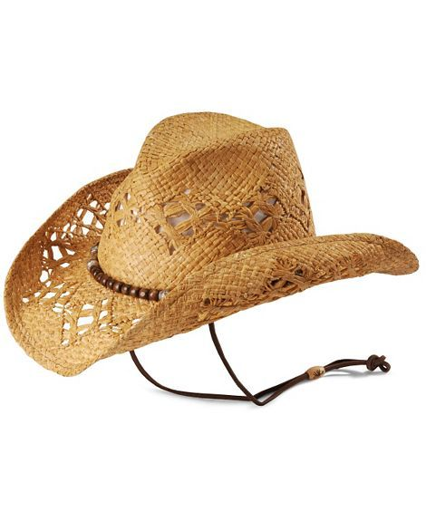 Kenny Chesney wood bead open weave straw cowboy hat  c10711d2f83