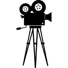 フリーイラスト素材 クリップアート 撮影機 映画用カメラ 映画 道具類 シルエット 映像 ビジュアル 黒色 ブラック Id 映画撮影 バースデー メッセージ カメラ