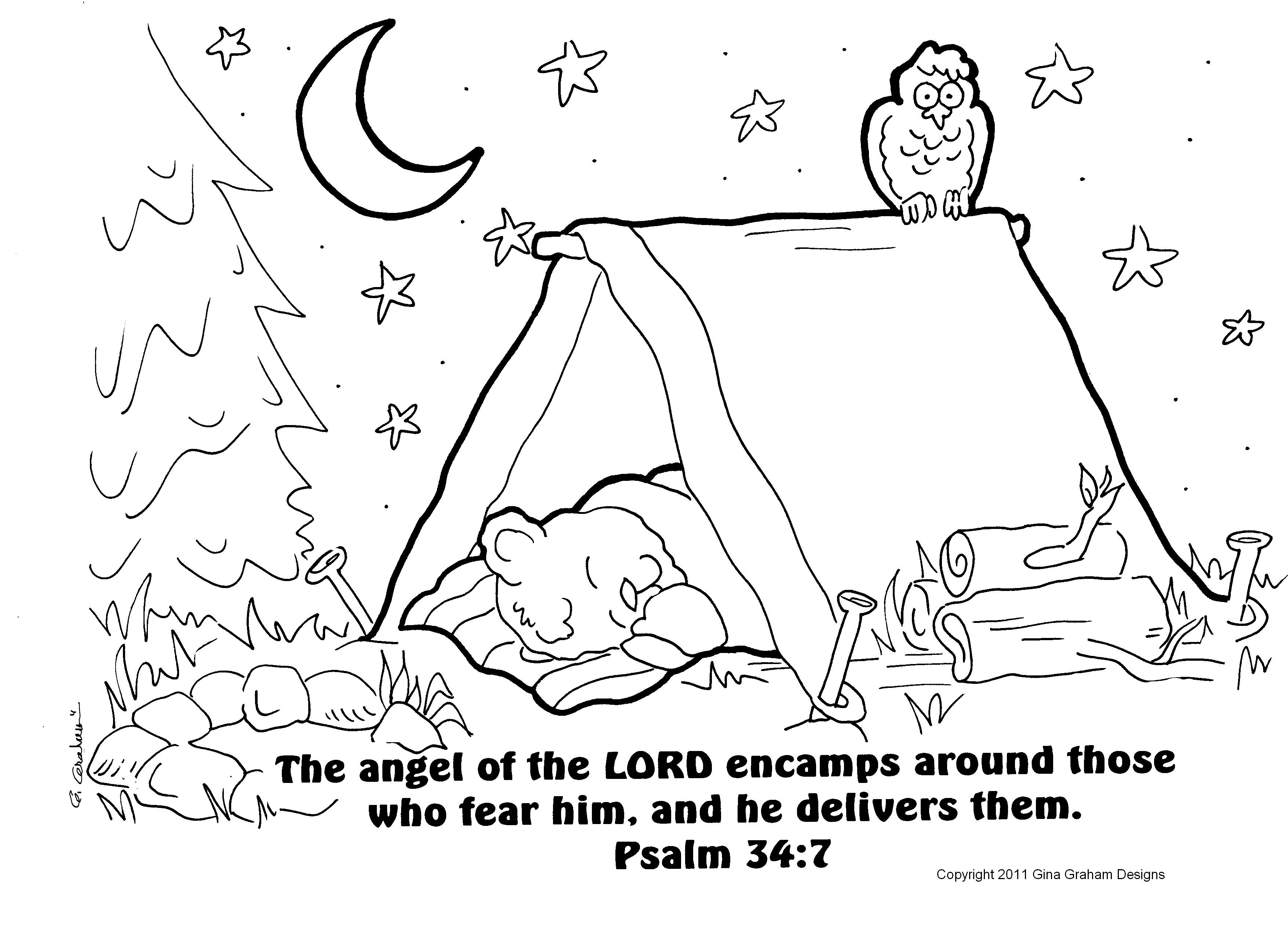 Going Camping coloring sheet to