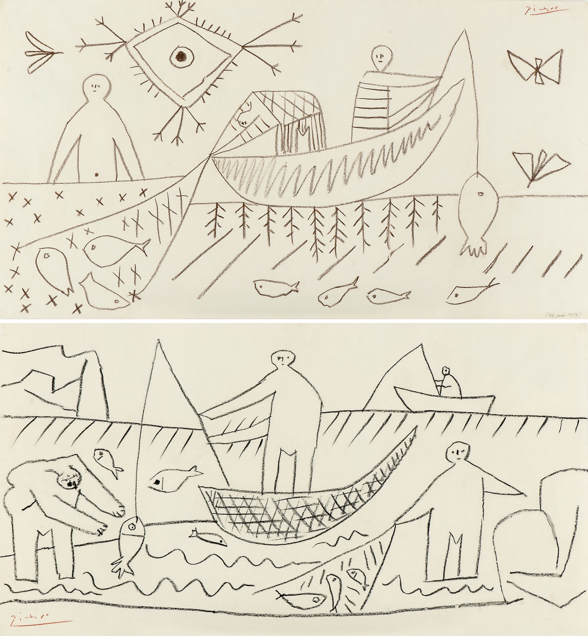 Pablo Picasso Fishermen Brown And Black Crayon On Heavy