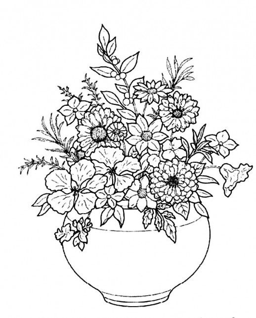Beautiful Flower Line Drawing : Beautiful flowers in round white plain vase coloring pages