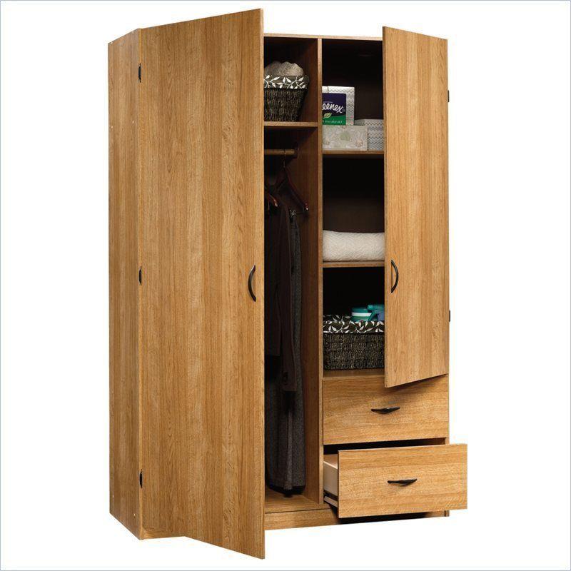 Sauder Beginnings Storage Cabinet Highland Oak Wardrobe Armoire