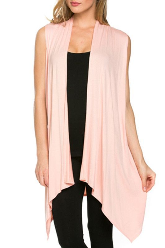 Women Sleeveless Open Front Shawl Irregular Hem Draped Cardigan ...