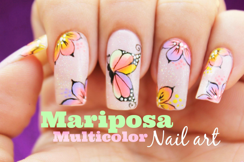 Decoración de uñas mariposa multicolor - Multicolor butterfly nail ...