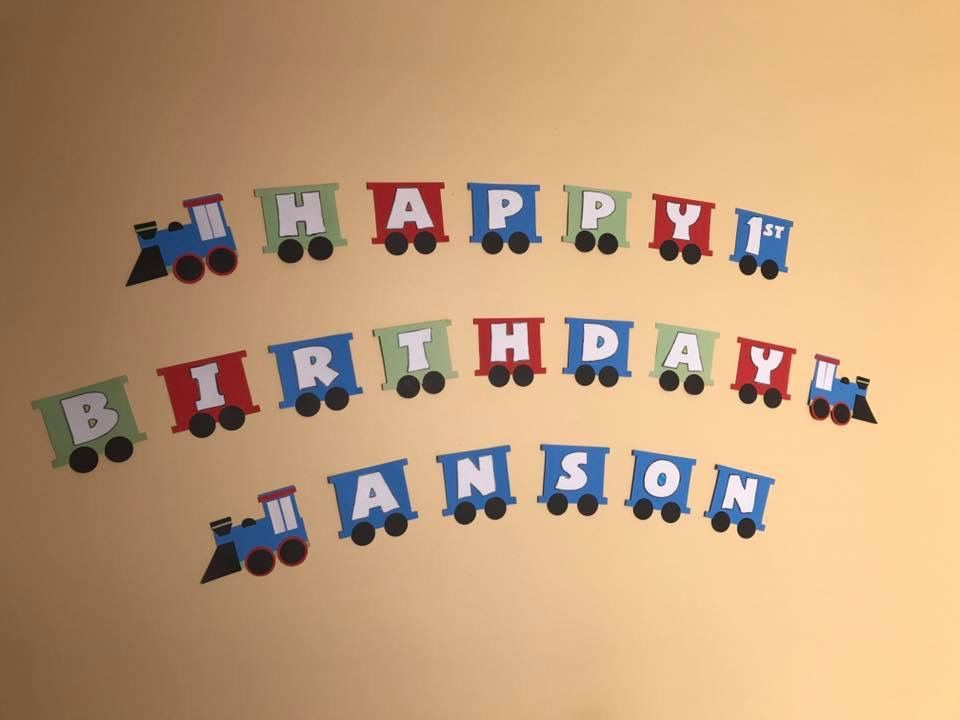 diy train banner that i created for my nephews birthday made with