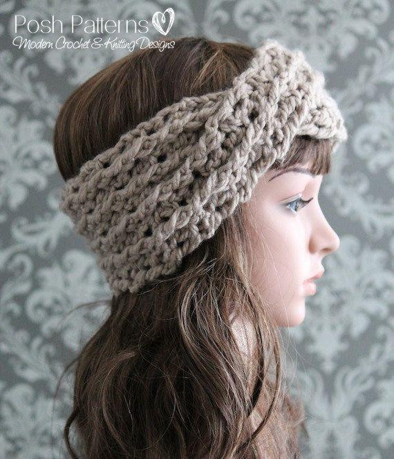 Crochet PATTERN - Crochet Headband Pattern - Turban Cross Over Cable ...