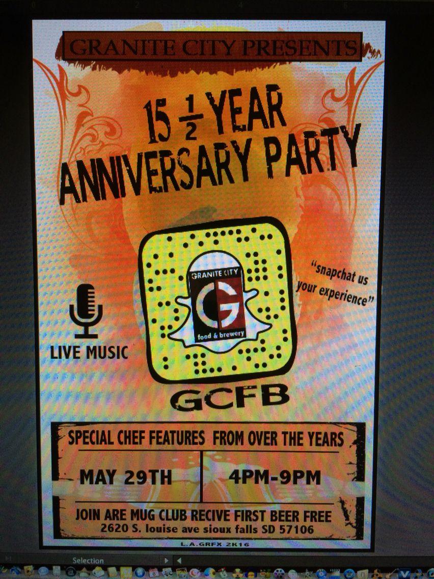 Flyer For Granite City 15year Celebration By Lagrfx Granite City Anniversary Parties 2nd Anniversary