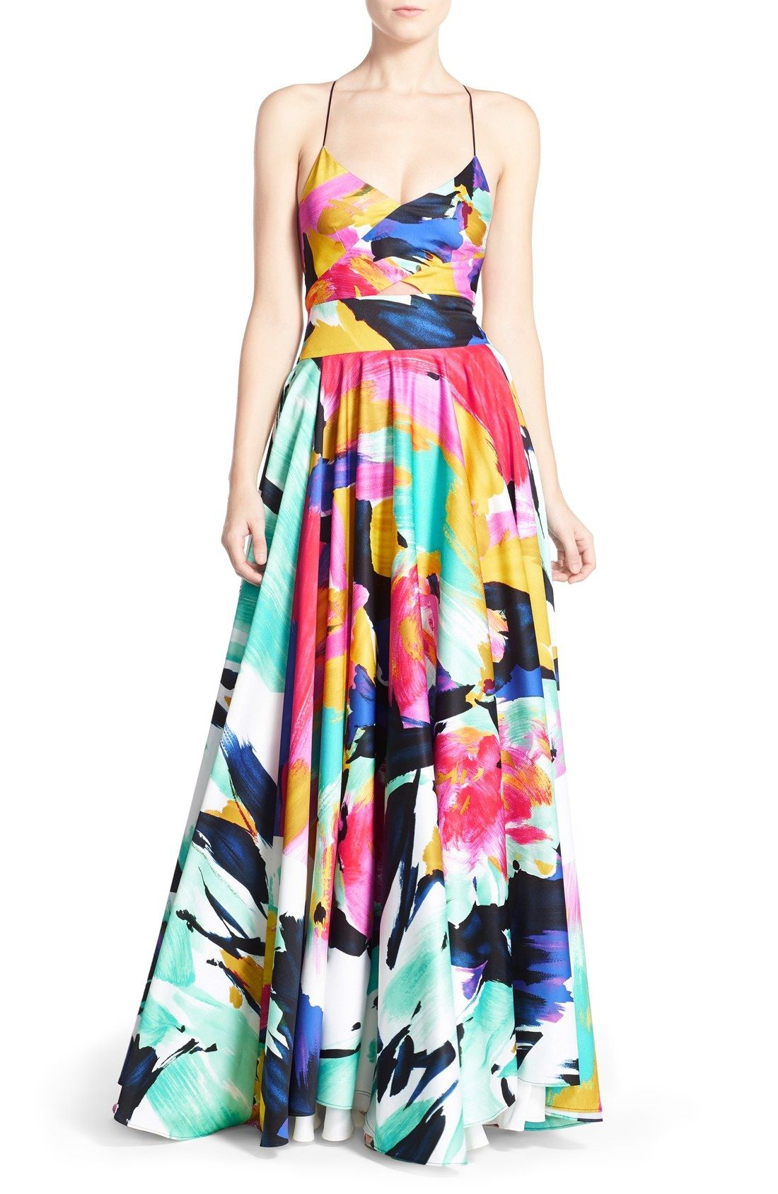 Milly ualanau brushstroke print gown available at nordstrom