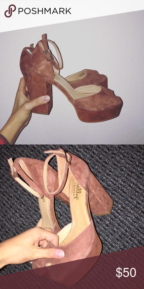 Shellys london heels Chestnut suede camden heels. Great condition. Shoes Heels
