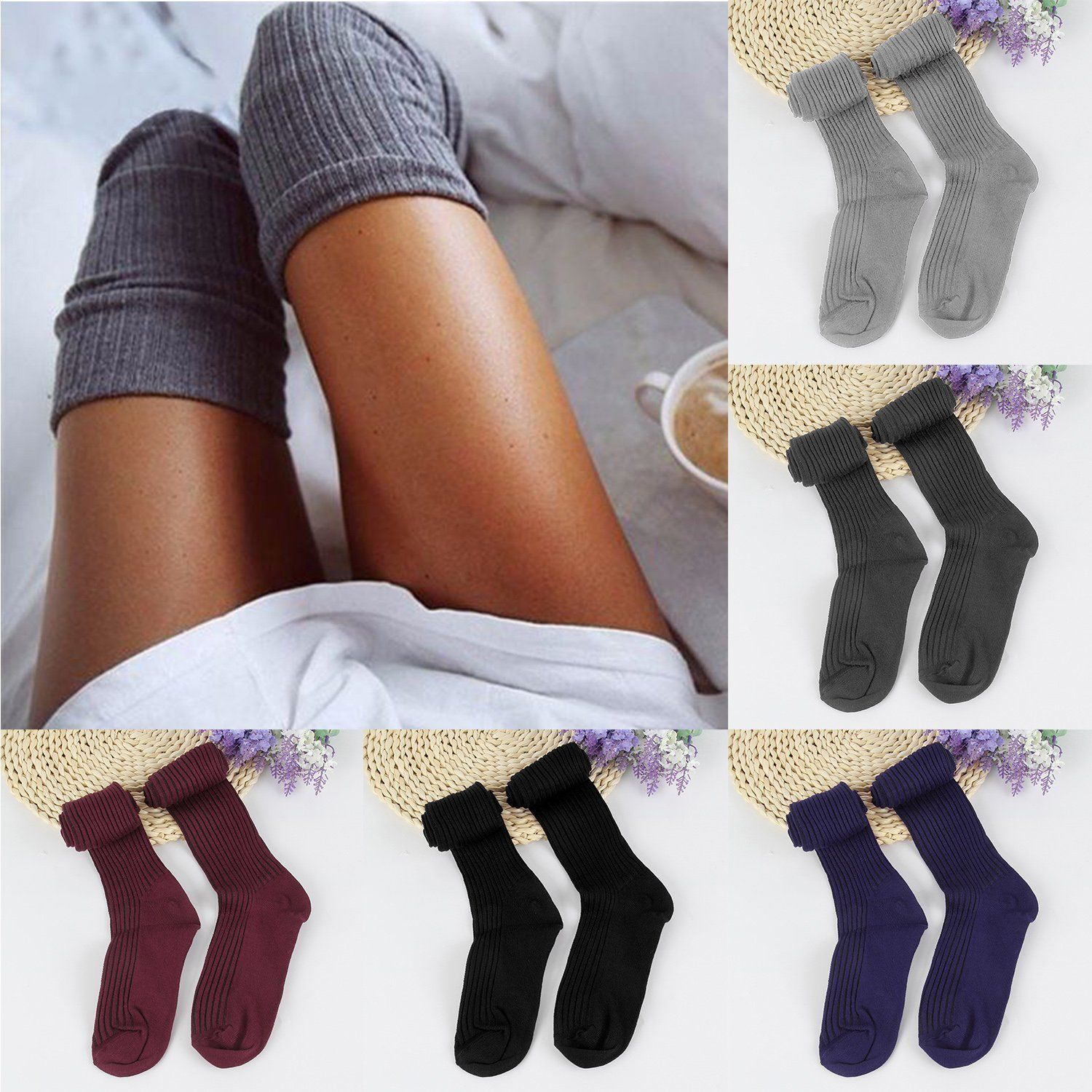 96829920d Women Lady Wool Warm Knit Over Knee Thigh High Stockings Socks Pantyhose  Tights