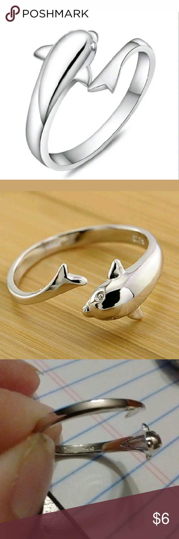 Size 7 Sterling Silver Dolphin Ring Brand new, sterling silver size seven dolphin ring. Jewelry Rings