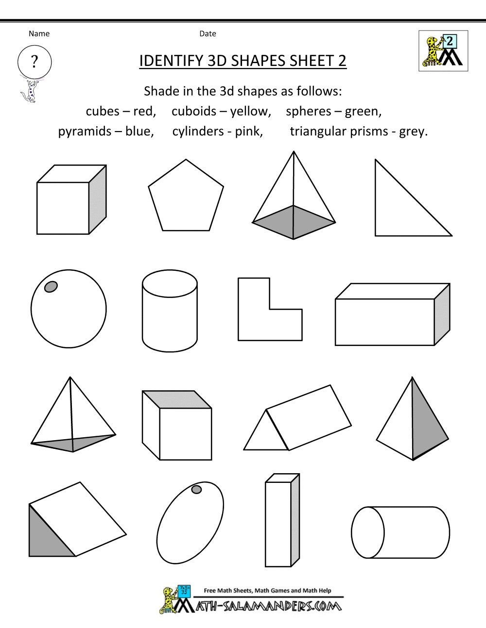 Second Grade Geometry Worksheets In 2020 Shapes Worksheet Kindergarten Geometry Worksheets 3d Shapes Worksheets