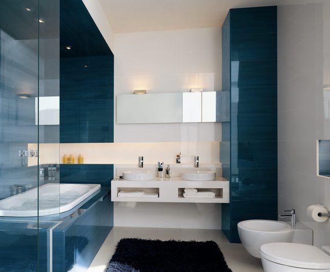 Salle de bains Bleu blanc | bathe | Salle de bain turquoise, Salle ...