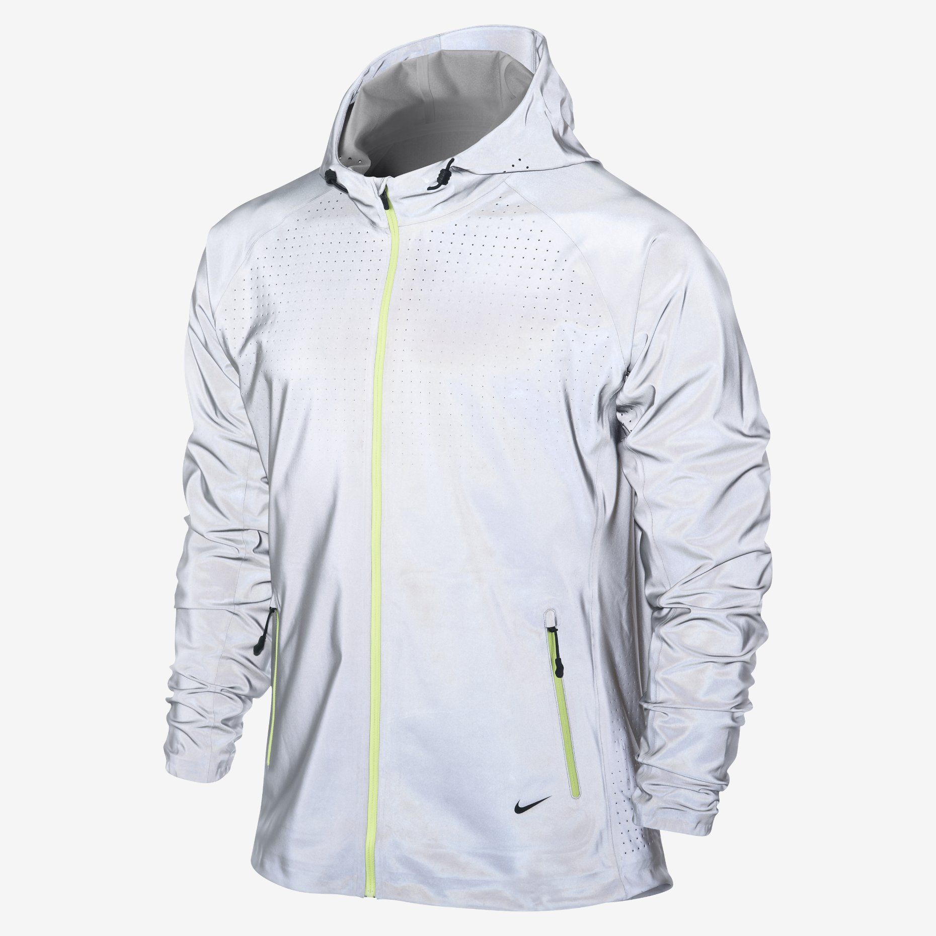 nike womens vapor running jacket white/silver granite