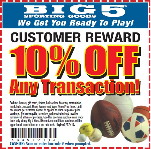 10 off at big 5 sporting goods coupon