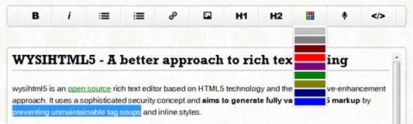 Un éditeur de Rich texte léger Avec Validation de code HTML5 - WYSIHTML5 - http://twit.lu/f0