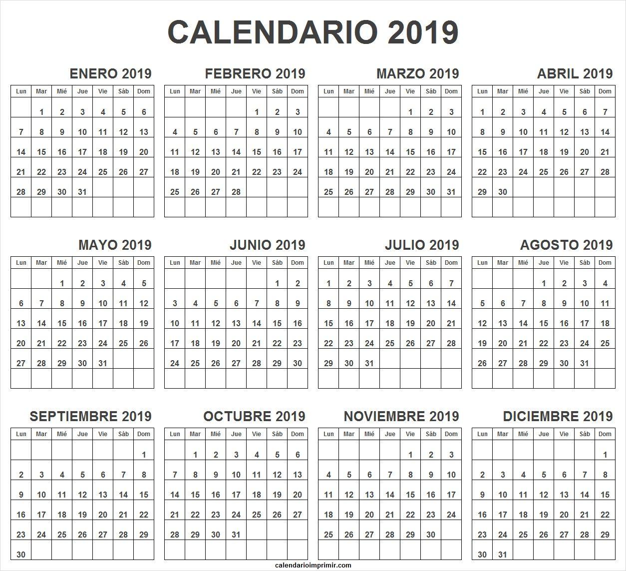 Calendario 2019 Para Imprimir Gratis.Calendario 2019 Para Imprimir Una Pagina Imprimir Gratis