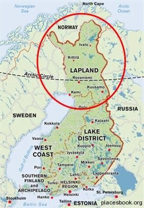 Location of Lapland a region located in the Arctic Circle