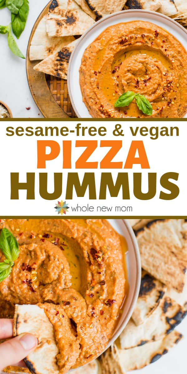 Pizza Hummus (sesame-free & dairy-free) | Whole New Mom