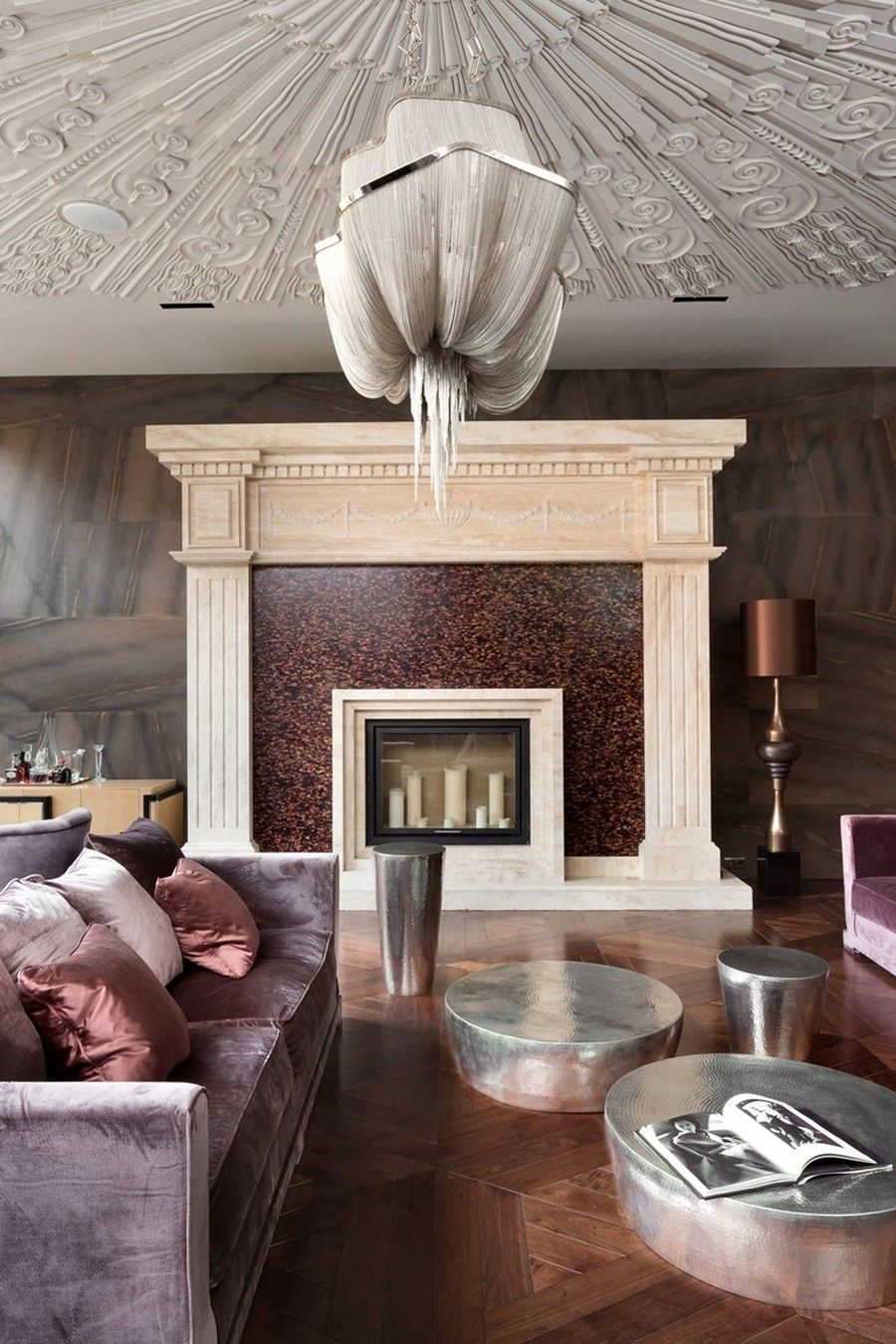 Kiev's Belle Epoque Residence: The Extravagant Home Décor : Brown Golden Living Room Metalic Coffe Table Detailed Arch Candle Holder Luxurious Home