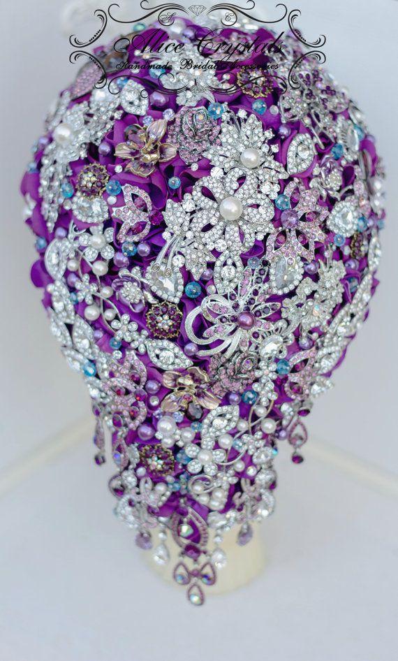 Cascade Purple Wedding brooch bouquet. Cascading Brooch bouquet ...