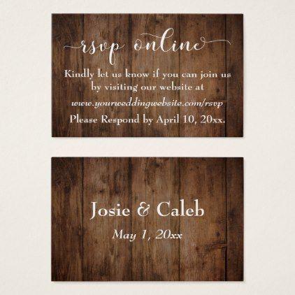 Rustic Wood Script Wedding RSVP Online Inserts
