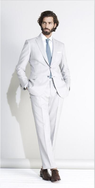 2017 Italian Style Tailor Made Beige Groom Tuxedos 2 Piece Slim ...