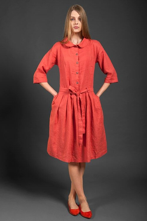 Red Linen button up Dress with a belt, pleated linen dress in coral red, 3/4 length sleeves, pure linen clothing by LinenSupplies on Etsy https://www.etsy.com/listing/237383008/red-linen-button-up-dress-with-a-belt
