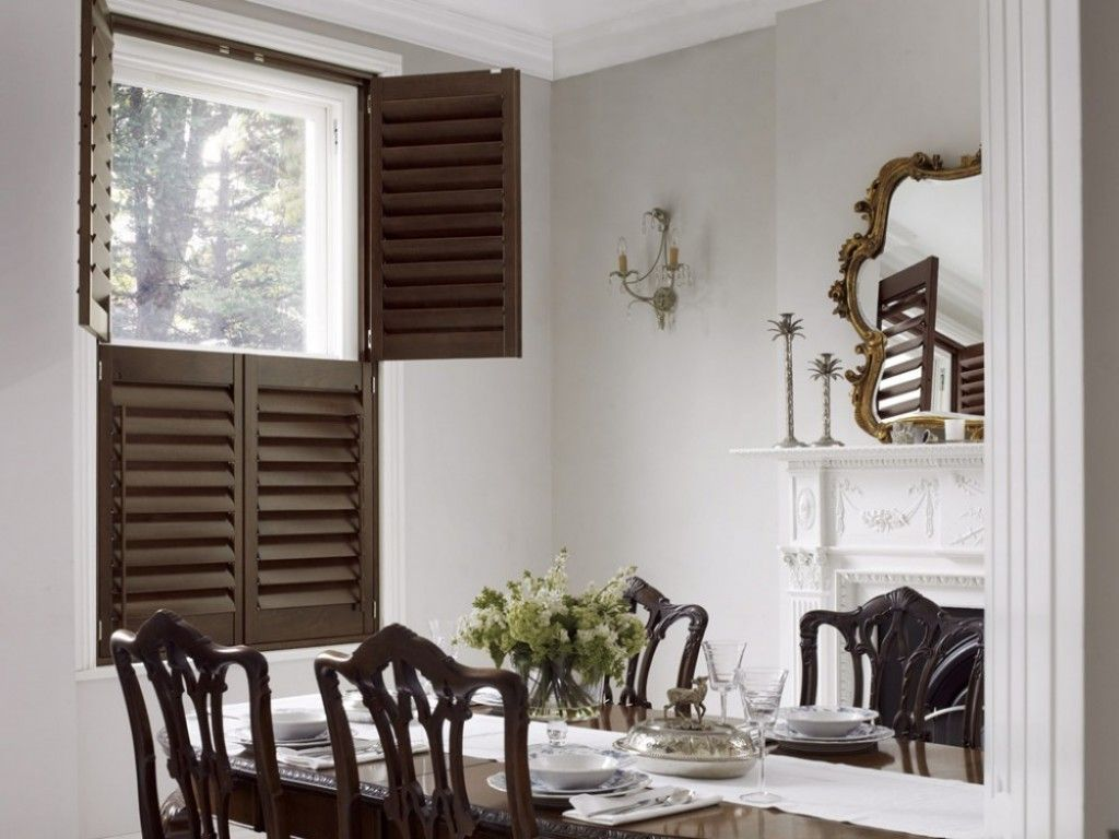 Dining Room Window Blinds Mesmerizing Traditional Dining Room With Dark Wood Shutters  Living & Dining Decorating Inspiration