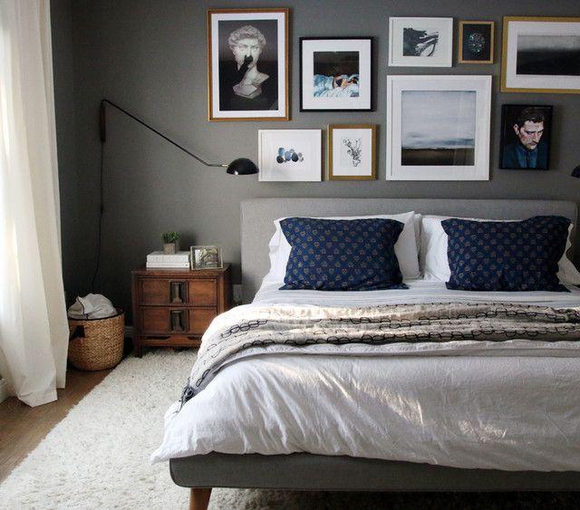 Masculine Master Bedroom Ideas: Mod Upholstered Bed Set -King, Cream At West Elm