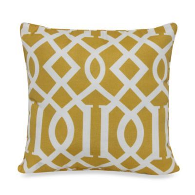 17-Inch Square Toss Pillow in Yellow Trellis - BedBathandBeyond.com