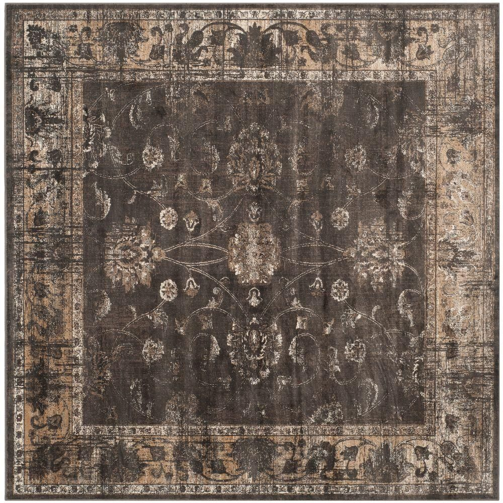 Vintage soft anthracite 8 ft x 8 ft square area rug