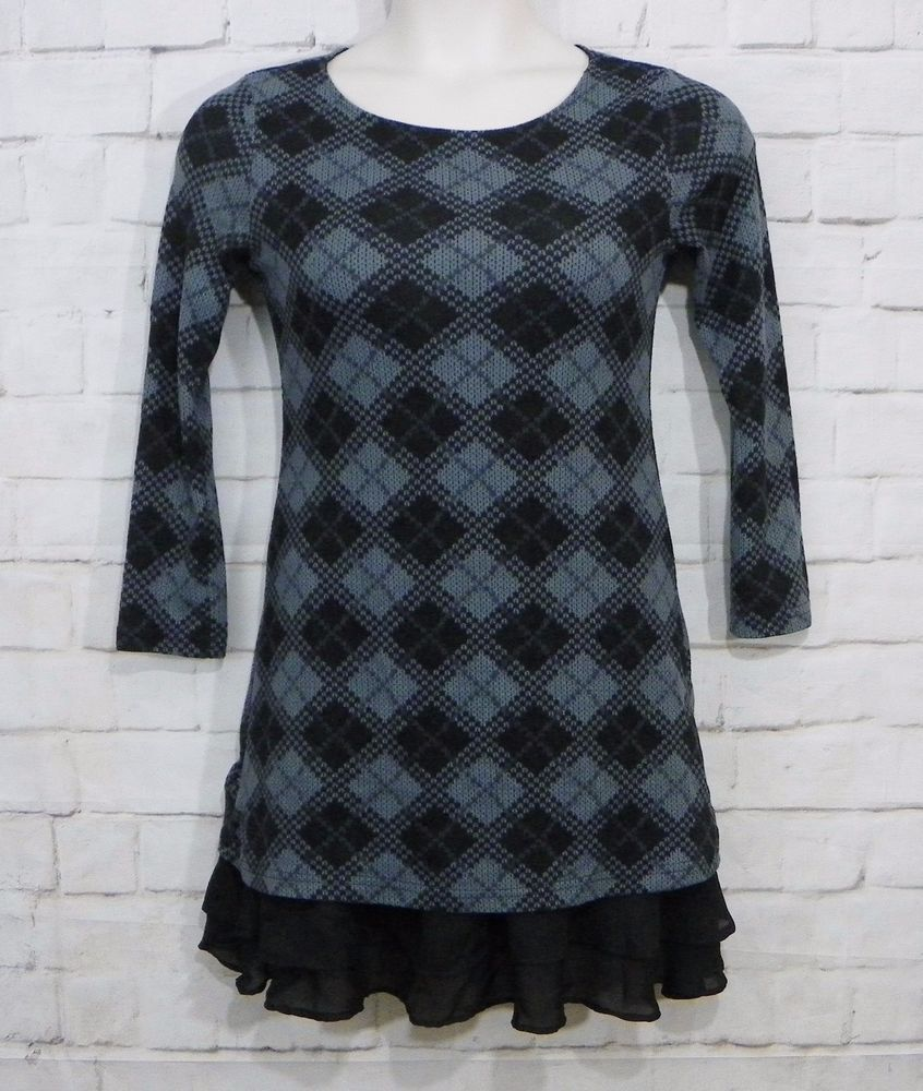 Womens REBORN Gray Black Argyle Ruffled Chiffon Hem Tunic Sweater ...