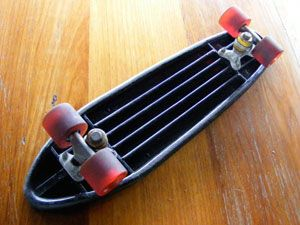 A Stack Of Australian And US Vintage Plastic Skateboards