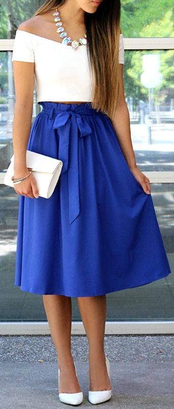Do or Tie Royal Blue Midi Skirt + white top and purse. Elegant women  fashion outfit clothing style apparel  roressclothes closet ideas f39804723808