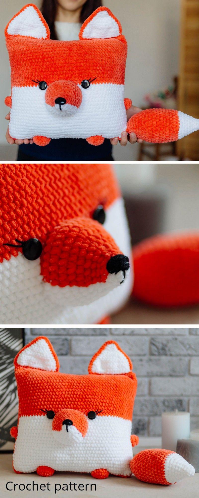 Crochet pattern fox, amigurumi fox pattern, crochet pillow pattern, crochet toy, crochet decor, fox