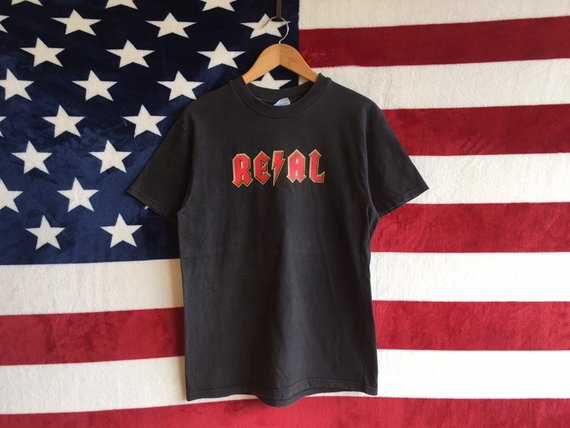 Vintage 90s Real Skateboard Tshirt Black Faded Colour Real