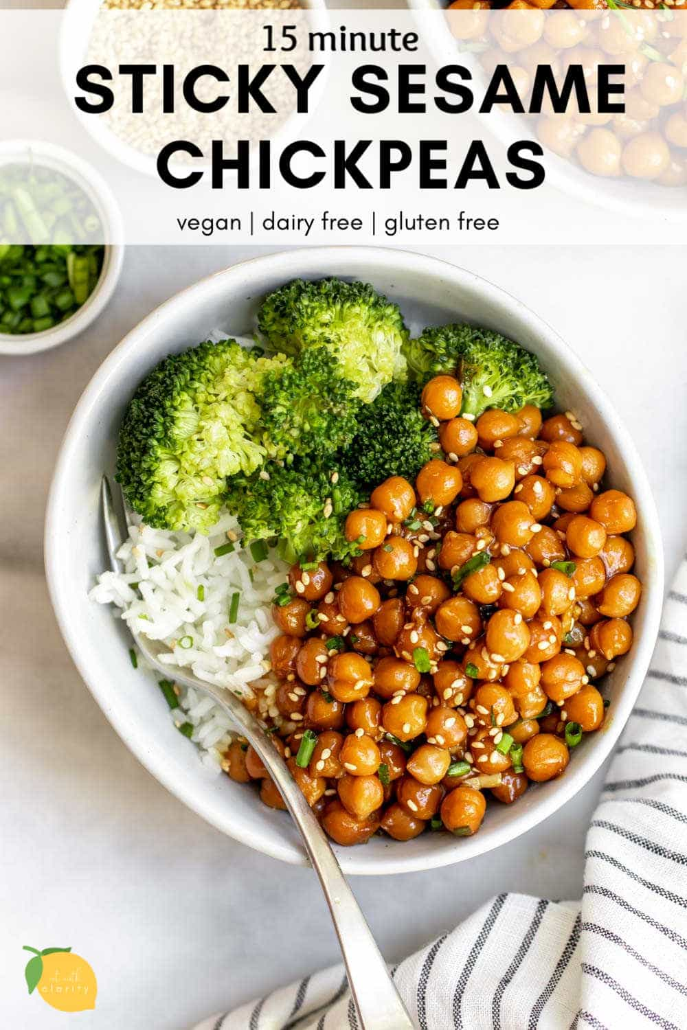 Vegan Sticky Sesame Chickpea Recipe Eat With Clarity Recipe In 2020 Chickpea Recipes Easy Chickpea Recipes Dinner Whole Food Recipes