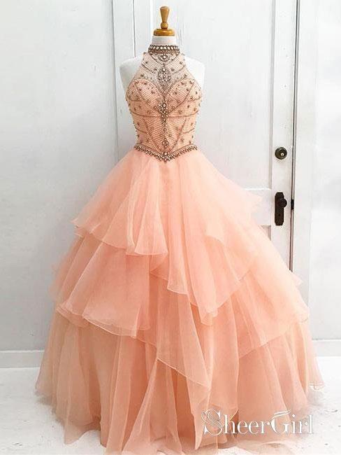 cb05c26da05 Long Prom Dress Ball Gown Halter High Neck Beaded Bodice Organza ...